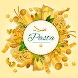 Italienskt pasta-, spagetti- och makaronibaner vektor illustrationer