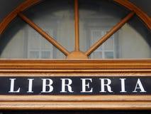 Italienskt tecken för bokhandel Royaltyfri Fotografi