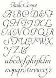 Italika pisma abecadła Capitals i Mali listy Fotografia Stock