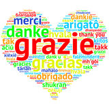 Italin: Grazie, Heart shaped word cloud Thanks, on white Stock Image