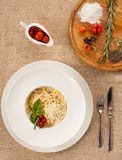 Italin pasta viewed on the top Stock Image
