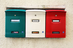 Itallian mailing boxes. Mailing box with the italian colors at tirano in italy Royalty Free Stock Image