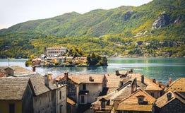 Italy湖orta诺瓦腊省山麓地区古董作用 库存图片