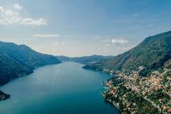 Italy科莫湖寄生虫空气寄生虫夏天照片 库存照片