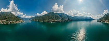 Italy科莫湖寄生虫空气360 vr虚拟现实寄生虫全景 库存图片