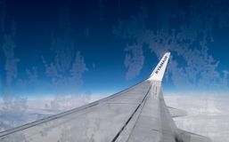 ITALY – FEB 18: View from RYANAIR AIRLINES Boeing 737 on February, 2016 in Italy. Ryanair Ltd. is an Irish low-cost airline. Headquartered in Swords royalty free stock photos