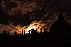 Divine light on the Basilica di san Pietro Roma stock photo