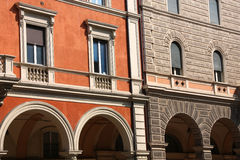 Italy. Old Italian architecture in Bologna, Italy. Ornamental windows and arcades Royalty Free Stock Photos