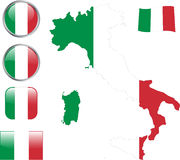 Italy. Map, flag and buttons -  illustration Royalty Free Stock Photography