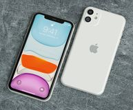 Free ITALY -22 SEPTEMBER, 2019: Iphone 11 Smartphones On Table. Iphone 11 In Close Up. Latest Apple Mobile Iphones Model Royalty Free Stock Images - 160473059