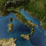Italy 3d map. Italy. 3d landscape with shadows, transparent water. Maps courtesy of NASA Royalty Free Stock Photo