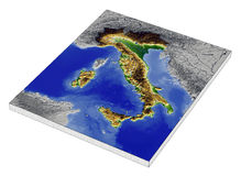 Italy, 3D relief map. 3D Relief Map of Italy, line of sight towards north-west Stock Photo