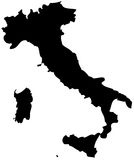 Italy. Detailed map of Italy, black and white. Mercator Projection Stock Photo