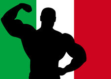 Italy. National flag of Italy with Athlete silhouette. Vector illustration Stock Images