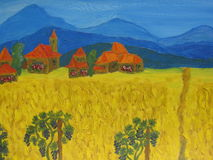 Italy. Photocpy of my own picture, oil painting. Italy landscape - blue hills, houses with red roofs, yellow field, grapes Stock Photography
