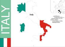 Italy. Flag and area vector illustration stock illustration