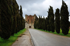 Italy abbey ruins 2. San Galgano abbey, entrance gate view Stock Images