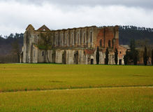 Italy abbey ruins. San Galgano abbey, external overview Royalty Free Stock Photo