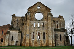 Italy abbey ruins 3. San Galgano abbey, rear view Stock Photography