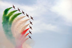 Italy aerobatic squadron. The famous Italy aerobatic squadron Frecce Tricolori at the Rome International Air Show 2014 Royalty Free Stock Images