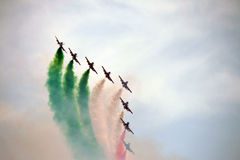 Italy aerobatic squadron. The famous Italy aerobatic squadron Frecce Tricolori at the Rome International Air Show 2014 Royalty Free Stock Image