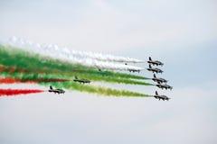 Italy aerobatic squadron. The famous Italy aerobatic squadron Frecce Tricolori at the Rome International Air Show 2014 Royalty Free Stock Photos