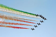 Italy aerobatic squadron. The famous Italy aerobatic squadron Frecce Tricolori at the Rome International Air Show 2014 Royalty Free Stock Photography