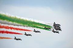 Italy aerobatic squadron. The famous Italy aerobatic squadron Frecce Tricolori at the Rome International Air Show 2014 Stock Photos