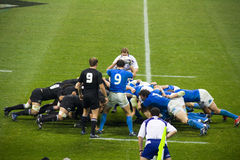 Italy - All Blacks scrummage Stock Image