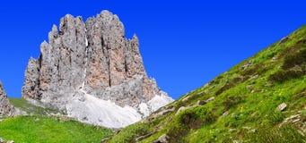 Italy Alps. Dolomite peaks, Rosengarten,Val di Fassa, Italy Alps Royalty Free Stock Photos
