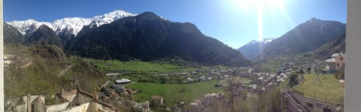 Italy alps. Panorama view off the Italy alps with snow on top of the mountains Stock Photography