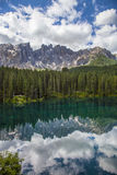Italy, Alto Adige, Naturno village. Italy, Alto Adige, Dolomite mountain. The Carezza lake royalty free stock photography