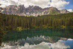 Italy, Alto Adige, Naturno village. Italy, Alto Adige, Dolomite mountain. The Carezza lake royalty free stock images