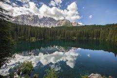 Italy, Alto Adige, Naturno village. Italy, Alto Adige, Dolomite mountain. The Carezza lake royalty free stock image