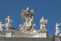Italy. The ancient temple and sculptures on a roof Royalty Free Stock Image