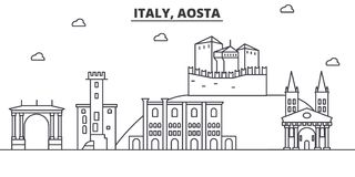 Italy, Aosta architecture line skyline illustration. Linear vector cityscape with famous landmarks, city sights, design. Icons. Editable strokes Stock Photo