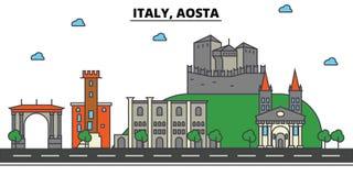 Italy, Aosta. City skyline architecture . Editable. Italy, Aosta. City skyline architecture, buildings, streets, silhouette, landscape, panorama landmarks Royalty Free Stock Image
