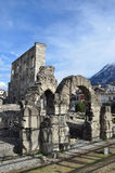Italy, Aosta, ruins of Roman theatre Stock Images