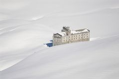 Italy. Aosta ski resort. Abandoned mountain hotel Royalty Free Stock Photo