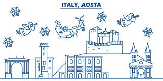 Italy, Aosta winter city skyline. Merry Christmas, Happy New Year. Decorated banner with Santa Claus.Winter greeting line card.Flat, outline vector. Linear Stock Photography