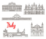 Italy architecture buildings vector icons Stock Photo