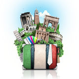 Italy, attractions Italy and retro suitcase Stock Photo