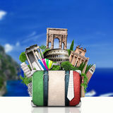 Italy, attractions Italy and retro suitcase Stock Images