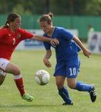 Italy - Austria, female soccer U17; friendly match. Vivaro (Italy); the national teams of female soccer Under 17 of Italy and Austria meet a friendly match Stock Image