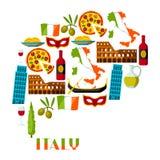 Italy background design. Italian symbols and objects.  stock illustration