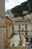 Italy backyard lifestyle 3. Houses, hotels, church built on a mountain slope on the .Amalfi coast located in the Sorrentine Peninsula, Italy. Amalfi is listed by stock photo