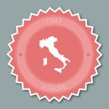 Italy badge flat design. Round flat style sticker of trendy colors with country map and name. Country badge vector illustration Royalty Free Stock Photos