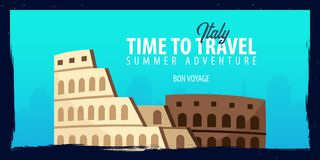 Italy banner. Time to Travel. Journey, trip and vacation. Vector flat illustration. Italy banner. Time to Travel. Journey, trip and vacation. Vector flat Royalty Free Stock Photography