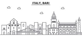Italy, Bari architecture line skyline illustration. Linear vector cityscape with famous landmarks, city sights, design Stock Photo