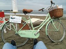 Italy. Beach bike relax lonely Royalty Free Stock Photography